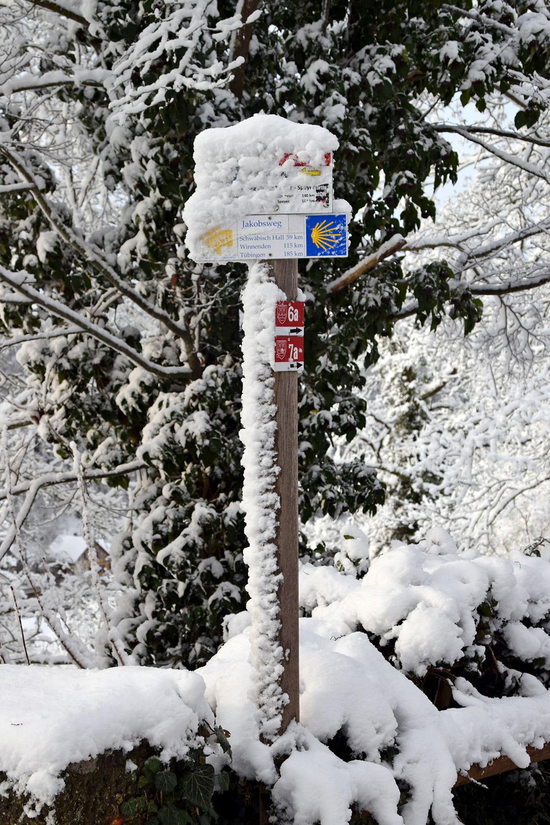 Verschneiter Wegweiser am Burggarten. Foto: am