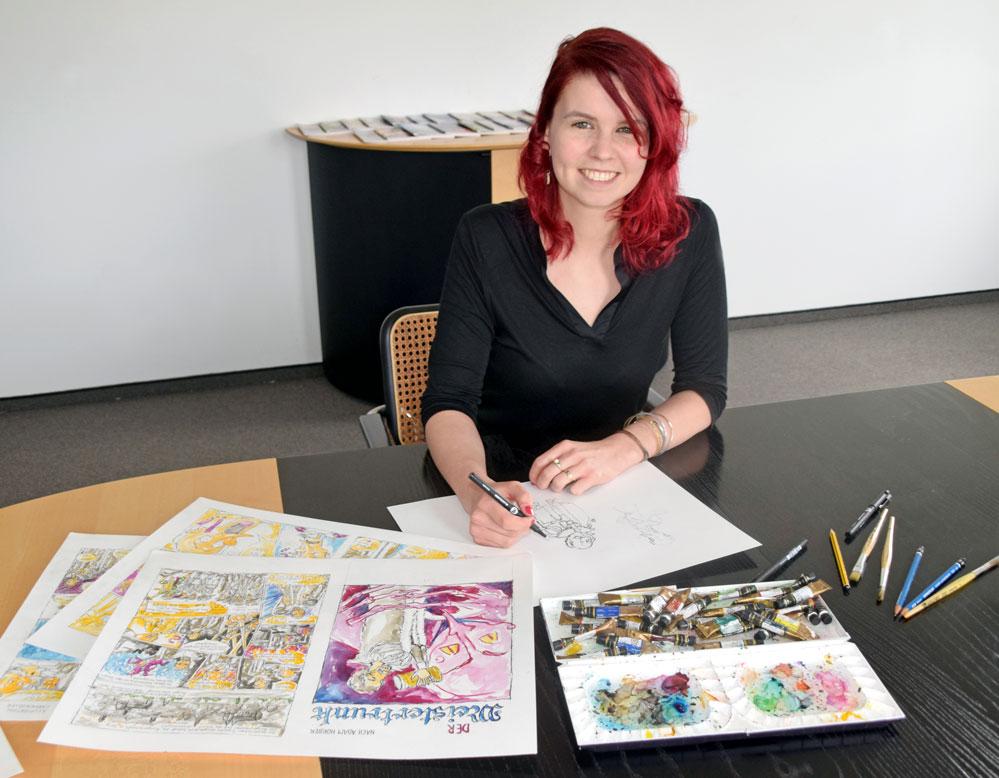 Carmen Hiller hat jede Szene des Comics per Hand gezeichnet und mit Aquarellfarben koloriert. Foto: am