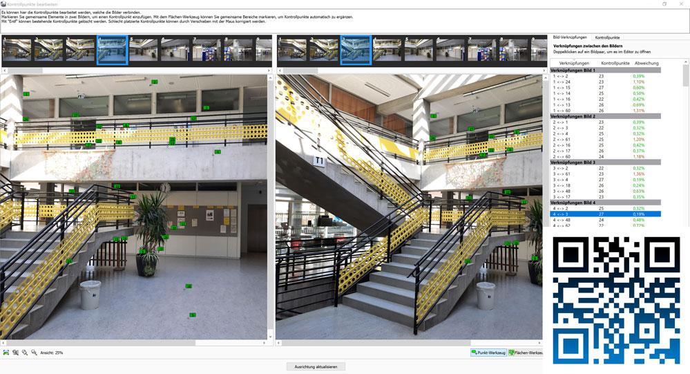 Für die Umsetzung eines interaktiven 3D-Rundgangs durch die Oskar-von-Miller Realschule wurde eine spezielle Softwaretechnik eingesetzt, die aus Hunderten von Fotos eine virtuelle Umgebung generiert. Das Ergebnis ist unter www.ovm.nineone.io zu sehen.